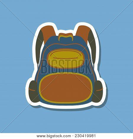 Paper Sticker On Stylish Background Of School Bag