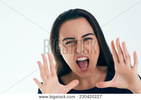 Young Cacasian Businesswoman Shouting Isolated On White Background.