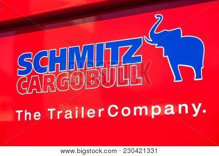 Nuerberg / Germany - March 4, 2018: Schmitz Cargobull Logo On A Man Dumper Truck. Schmitz Cargobull