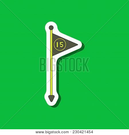 Paper Sticker On Stylish Background Flag Number