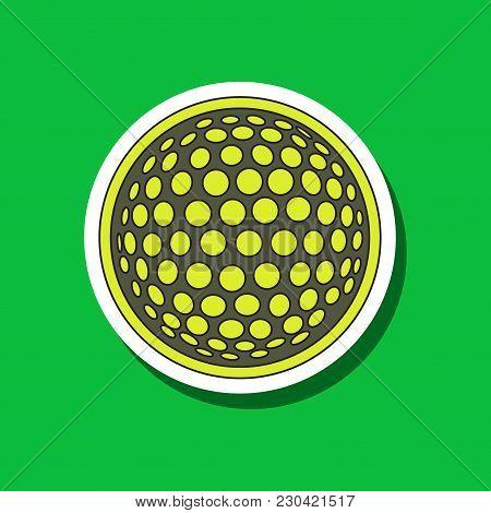 Paper Sticker On Stylish Background Golf Ball