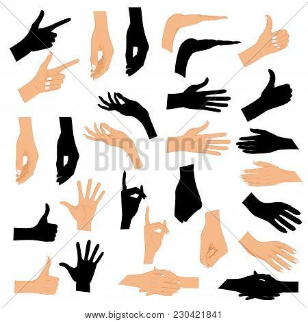 Set Hands In Different Gestures With A Black Silhouette Isolated On White Background. Colored Hand G