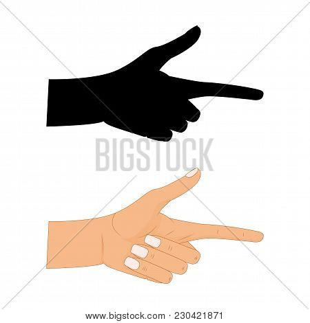 Hand With Pointing Finger Vector Illustration , Pointing Fingers, Hand Drawn Hands Isolated On White