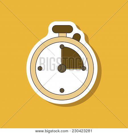 Paper Sticker On Stylish Background Stopwatch Sport