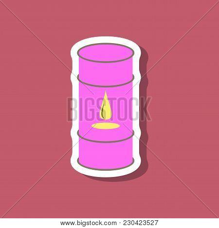 Paper Sticker On Stylish Background Barrel Of Oil