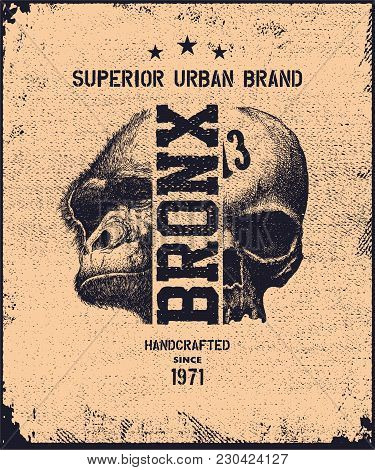 Vintage Urban Typography With Skul And Gorulla Head, T-shirt Graphics, Vector Illustration