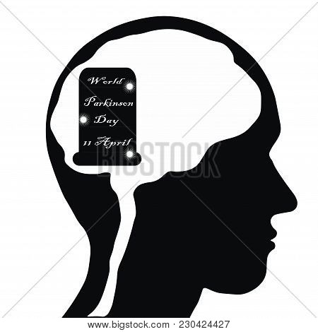 The Vector Illustration Devoted To World Parkinson Day. Black And White Human Face.