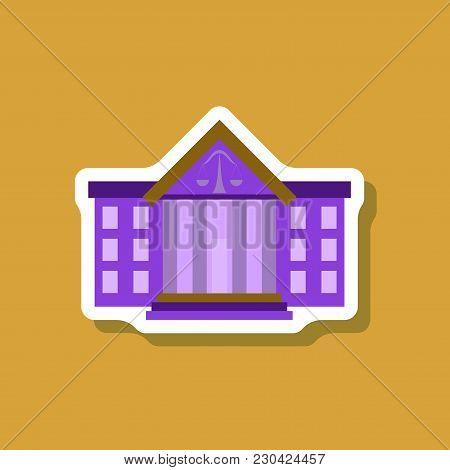 Paper Sticker On Stylish Background Courthouse Illustration. Communication Multimedia