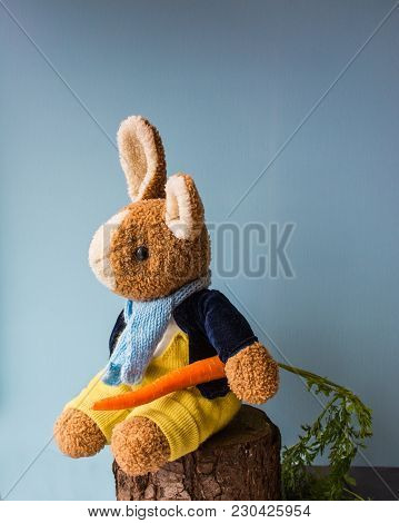Toy Teddy Rabbit Wearing A Velvet Jacket And Scarf  Sitting On The Stump With Rootlet, On The Light