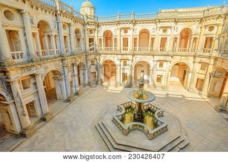 Portugal, Tomar. Aerial View Of Claustro De D. Joao Iii, Courtyard With Fountain Of Convent Of Chris