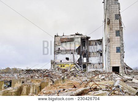 The Remains Of Concrete Walls Of The Building After The Explosion.