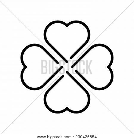 Shamrock Silhouette - Black Outline Four Leaf Clover Icon. Good Luck Theme Design Element. Simple Ge