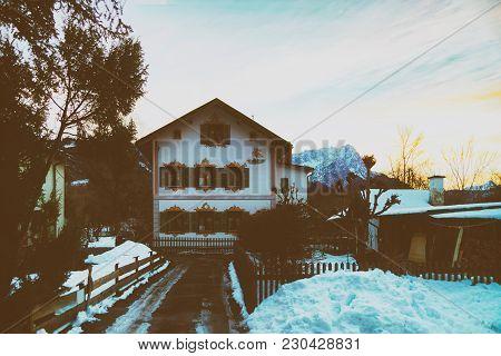 Garmisch-partenkirchen, Germany - January 6, 2015: Residential Building In Garmisch-partenkirchen Wi
