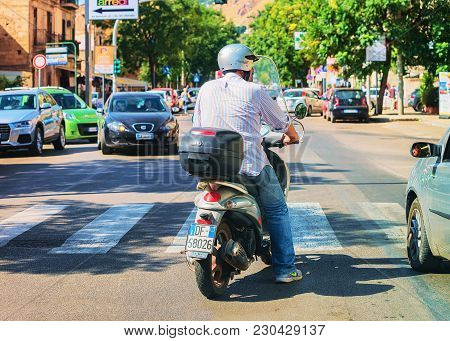 Palermo, Italy - September 16, 2017: Street View With Scooter On Road In Palermo, Sicily In Italy