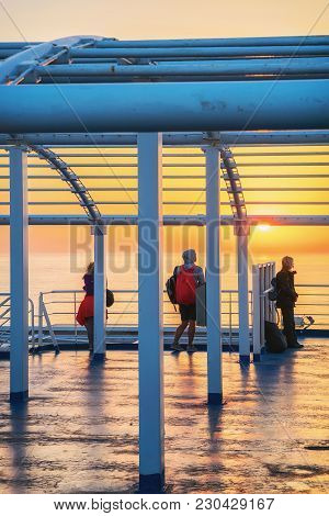 Palermo, Italy - September 16, 2017: Passengers Aboard A Ferry Ship At The Mediterranean Sea In Pale