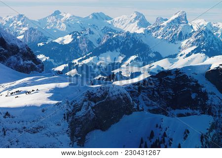 Bernese Oberland At Winter Swiss Alps, Helicopter View.