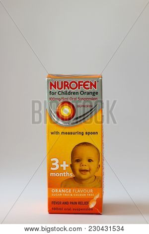 March 10th, 2018, Cork, Ireland - Nurofen For Children Oral Suspension Ibuprofen Box.