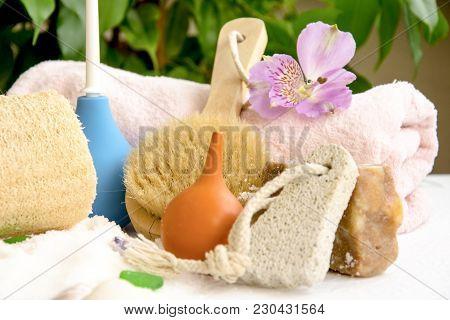 Sea Salt Crystals For Bathroom, Pumice, Luff,  Alstroemeria Flower, Body Brush, Shells, Handmade Soa