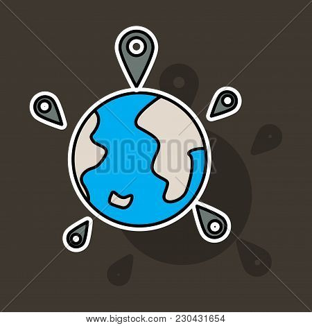 Globe Earth With Color Pointer Marks. Vector Illustration