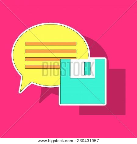 Sticker Text Message Vector Icon, Speech Bubble Symbol. Modern, Simple Flat Vector Illustration For