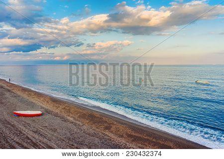 Beach At Mediterranean Sea At Santa Teresa Di Riva Near Messina, Sicily, Italy
