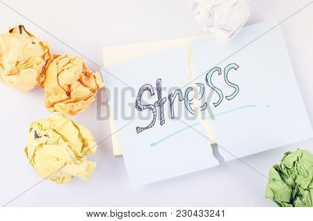 Teared Piece Notepad With Handwriting Stress Word