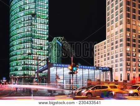 Berlin, Germany - December 13, 2017: Skyscrapers At Bahnhof Potsdamer Platz Station In The Downtown