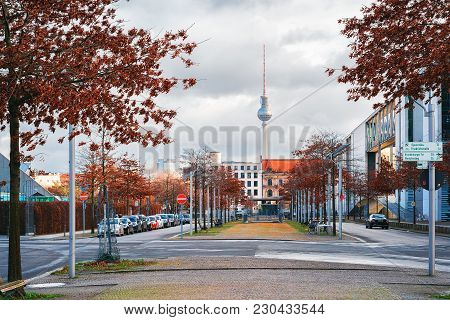 Berlin, Germany - December 8, 2017: Television Tower And Downtown Of Berlin, Germany