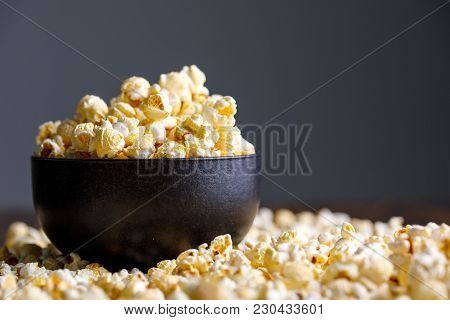Popcorn In An Exquisite Ceramic Cup And Around It.
