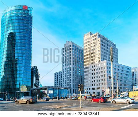 Berlin, Germany - December 13, 2017: Skyscrapers At Potsdamer Platz In The Downtown Of Berlin, Germa