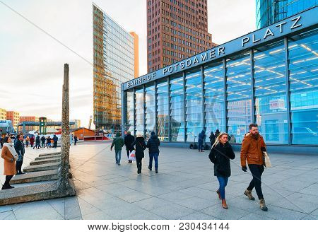 Berlin, Germany - December 13, 2017: People On Potsdamer Platz In The Downtown Of Berlin, Germany