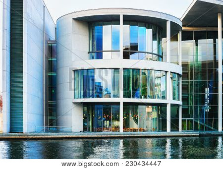 Berlin, Germany - December 8, 2017: Modern Glass Building Of German Bundestag Parliament In Berlin,
