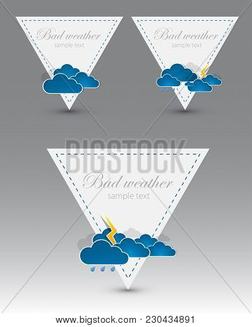 Rainy Weather Info Triangles. Creative Vector Illustration