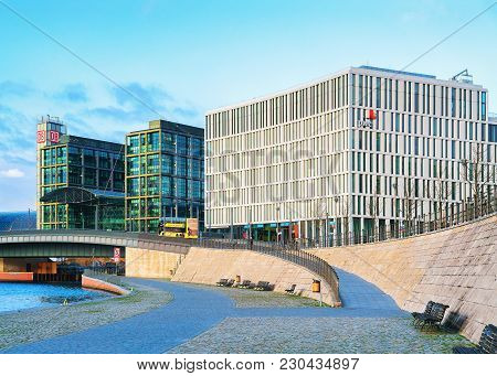 Berlin, Germany - December 8, 2017: Business Downtown And Bridge Over Spree River In Berlin Mitte, I