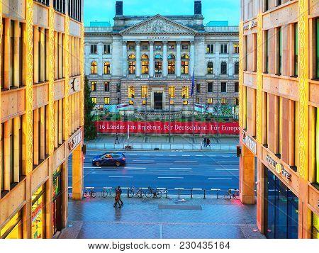 Berlin, Germany - December 12, 2017: Bundesrat Building In Berlin, Germany. At The Evening