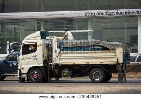 Chiang Mai, Thailand -february 26 2018: Private Hino Dump Truck. On Road No.1001 8 Km From Chiangmai
