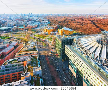 Panoramic View On Potsdamer Platz And The Downtown Of Berlin, Germany