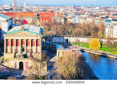 Old National Gallery And Spree River On Museum Island Berlin