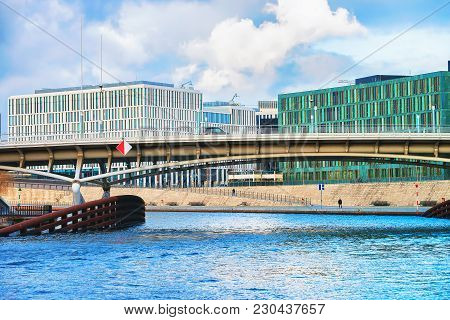 Business Downtown And Bridge Over Spree River At Berlin Mitte, Germany