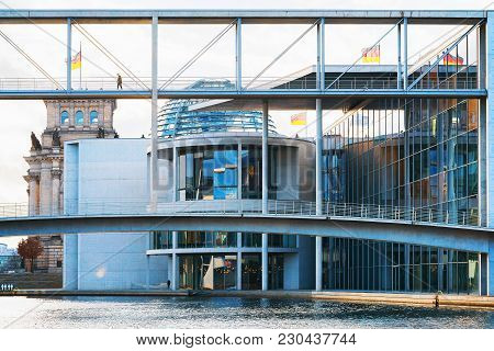 Bridge Of German Bundestag Parliament Building In Berlin, Germany