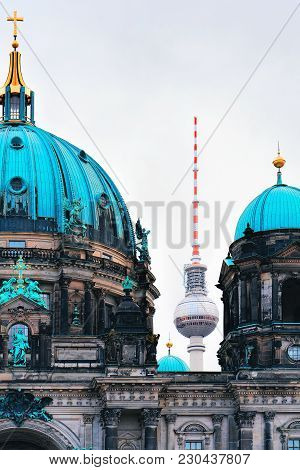 Berliner Dom Cathedral With Television Tower, Berlin, Of Germany