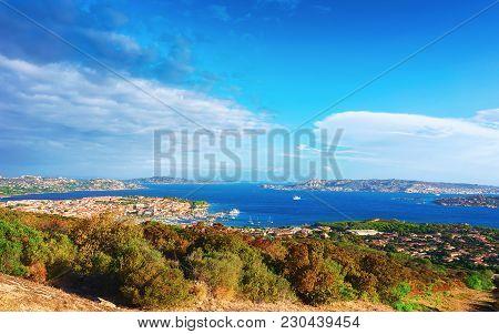 Landscape Of Palau With Maddalena Island On Costa Smeralda Resort In Mediterranean Sea, Sardinia, It