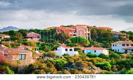 Baja Sardinia Architecture And Nature On Costa Smeralda In The Evening, Sardinia, Italy
