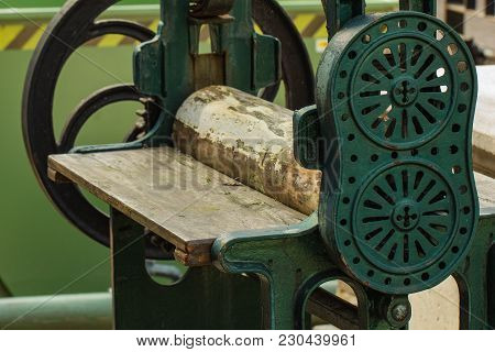 Old Tool For Wooden Work Outside In A Sunlight, Horizontal