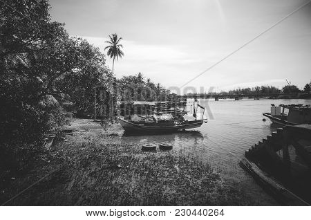 Beautiful In Nature, Black And White Image Of Village Near The River Bank Located In Terengganu, Mal