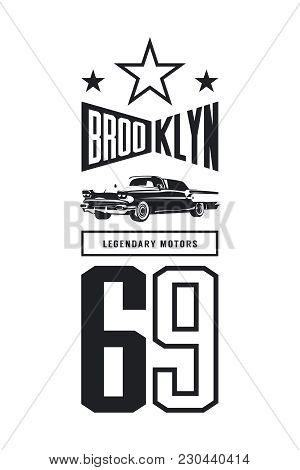 Vintage Luxury Vehicle Vector Logo Isolated On White Background. Premium Quality Classic Car Logotyp