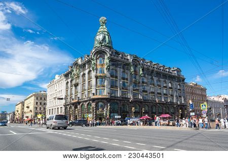 Saint- Petersburg, Russia - July 10, 2016: View Of Nevsky Prospect, The Main Street In The City Of S