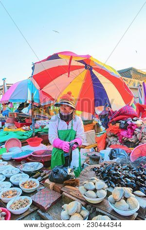 Busan, South Korea - March 12, 2016: Seller Of Seafood In Street Fish Market In Jagalchi In Busan, S