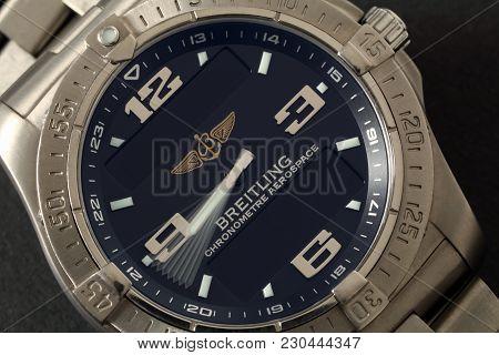 Rijeka, Croatia - November, 22, 2012: Close Up Photo Of Breitling Aerospace Quartz Wrist Watch With