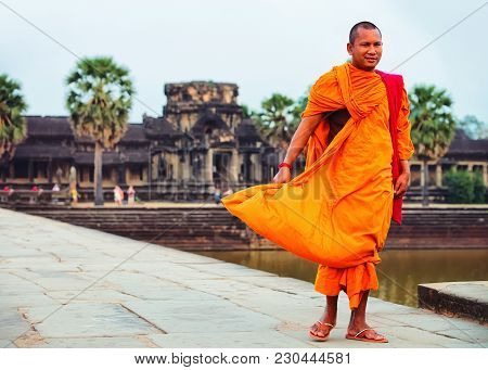 Siem Reap, Cambodia - March 3, 2016: Monk At Angkor Wat Temple Complex, Siem Reap, Cambodia.